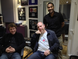 Toby, Andy Whitmore and engineer Nicholas take a break in between recording